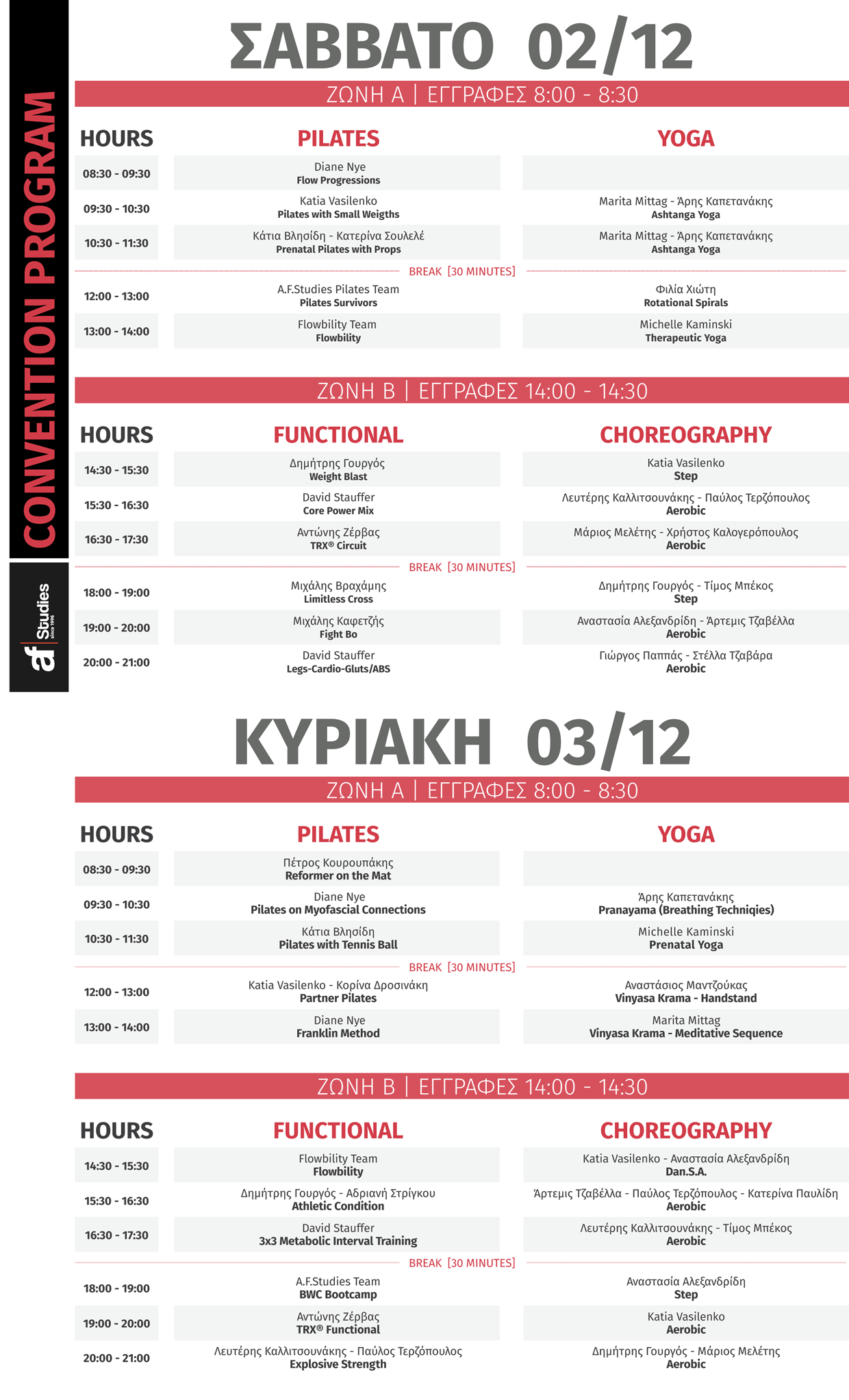 22nd Fitness Convention by A.F. Studies - Πρόγραμμα